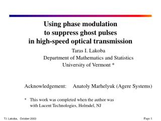 Using phase modulation to suppress ghost pulses in high-speed optical transmission