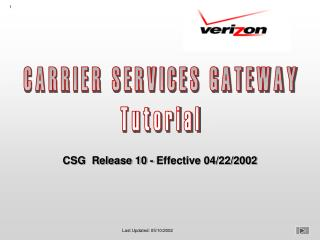 CARRIER SERVICES GATEWAY Tutorial