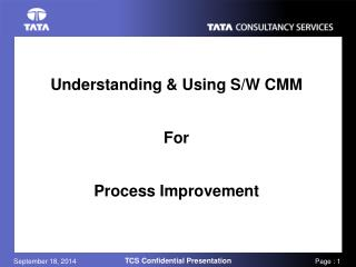 Understanding & Using S/W CMM For Process Improvement