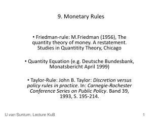 9. Monetary Rules