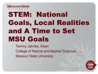 STEM:  National Goals, Local Realities and A Time to Set MSU Goals