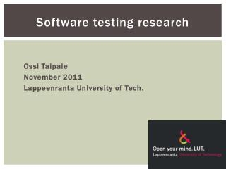 Software testing research