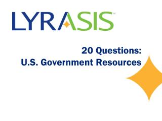 20 Questions: U.S. Government Resources