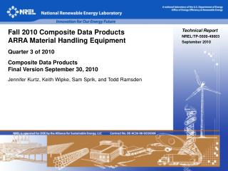 Technical Report NREL/TP-5600-49603 September 2010