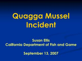 Quagga Mussel Incident Susan Ellis California Department of Fish and Game September 13, 2007