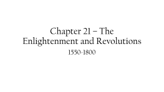 Chapter 21 – The Enlightenment and Revolutions