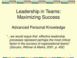 Leadership in Teams: Maximizing Success Advanced Personal Knowledge