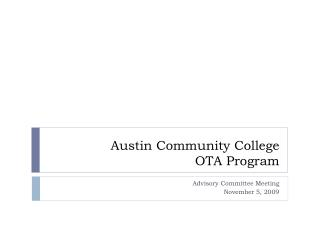 Austin Community College OTA Program