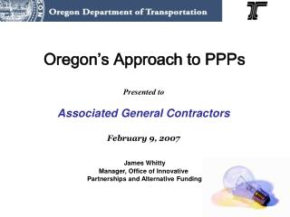 Oregon's Approach to PPPs