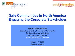 Safe Communities in North America  Engaging the Corporate Stakeholder