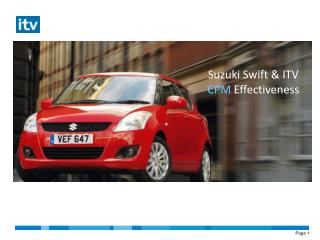 Suzuki Swift & ITV  CPM  Effectiveness