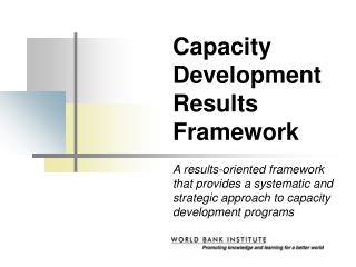 Capacity Development Results Framework