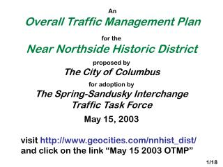 An Overall Traffic Management Plan
