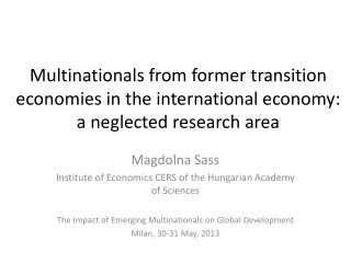 Magdolna Sass  Institute of Economics CERS of  the Hungarian Academy of Sciences