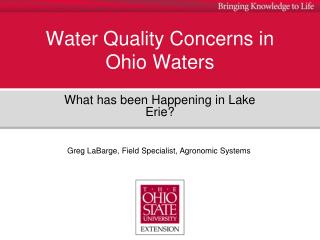 Water Quality Concerns in Ohio Waters