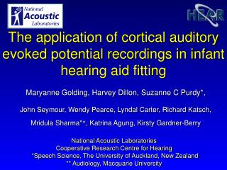 National Acoustic Laboratories Cooperative Research Centre for Hearing