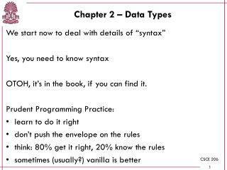 Chapter 2 – Data Types