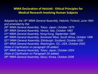 WMA Declaration of Helsinki - Ethical Principles for Medical Research Involving Human Subjects