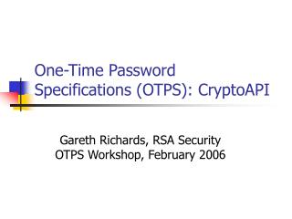 One-Time Password Specifications (OTPS): CryptoAPI