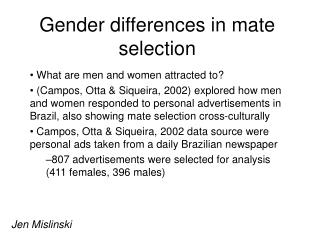 Gender differences in mate selection