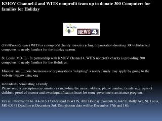 KMOV Channel 4 and WITS nonprofit team up to donate 300 Comp