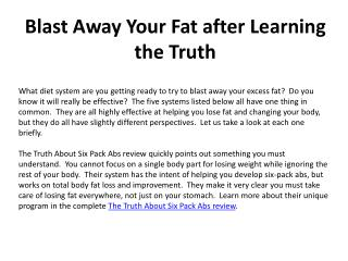 Blast Away Your Fat after Learning the Truth