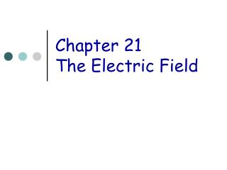 Chapter 21 The Electric Field