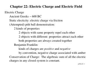 Chapter 22: Electric Charge and Electric Field