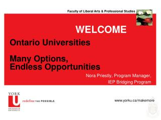 Ontario Universities Many Options,  Endless Opportunities