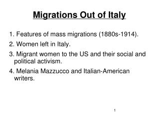Migrations Out of Italy
