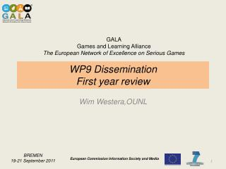WP9 Dissemination First year review