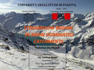 WINTER STREAMFLO DYNAMICS IN SNOW DOMINATED CATCHEMENTS