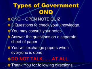 Types of Government ONQ