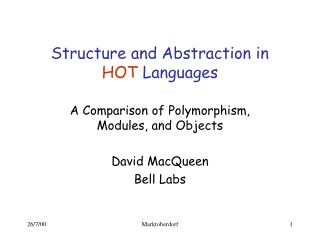 Structure and Abstraction in HOT  Languages