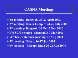 CASNA Meetings
