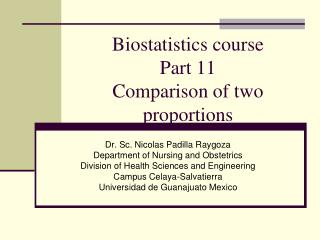Biostatistics course Part 11 Comparison of two proportions