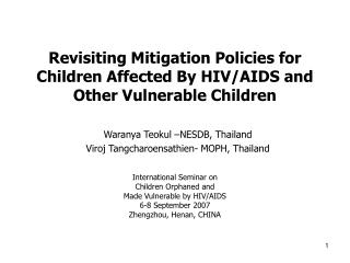 Revisiting Mitigation Policies for Children Affected By HIV/AIDS and Other Vulnerable Children