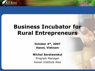 Business Incubator for Rural Entrepreneurs