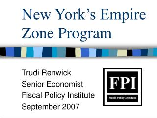 New York's Empire Zone Program