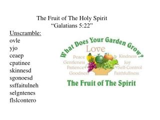 "The Fruit of The Holy Spirit ""Galatians 5:22"""