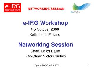 NETWORKING SESSION e-IRG Workshop 4-5 October 2006 Keilaniemi, Finland Networking Session