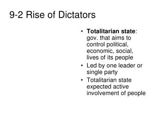 9-2 Rise of Dictators