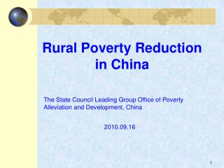 Rural Poverty Reduction in China