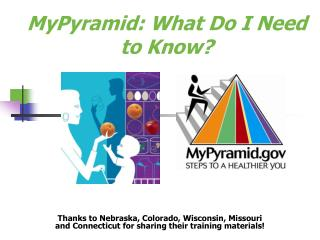 MyPyramid: What Do I Need to Know?