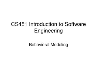 CS451  Introduction to Software Engineering
