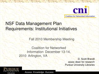 NSF Data Management Plan  Requirements: Institutional Initiatives