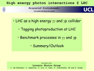 High energy photon interactions @ LHC