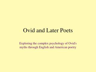 Ovid and Later Poets