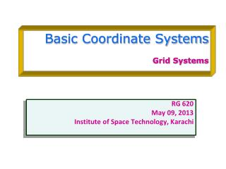 Basic Coordinate Systems Grid Systems