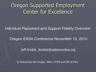 Oregon Supported Employment  Center for Excellence